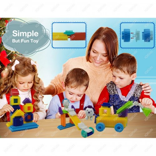 NiceWave Nursery Bullet Shaped Blocks Educational Plastic Colorful Toys Inserted Building Blocks Puzzle Construction Toy for Kids Intelligence Development Fun Toy for Kids